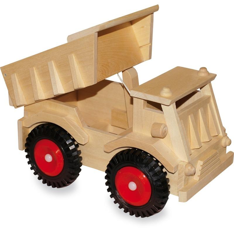 Houten speelgoed kiepwagen