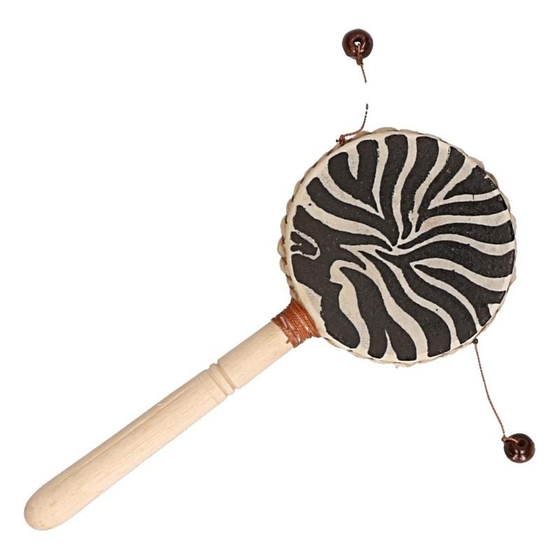 Houten trommel instrument met zebraprint 20 cm