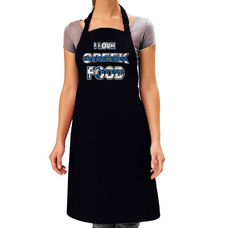 I love Greek food barbecue/keuken schort zwart voor dames