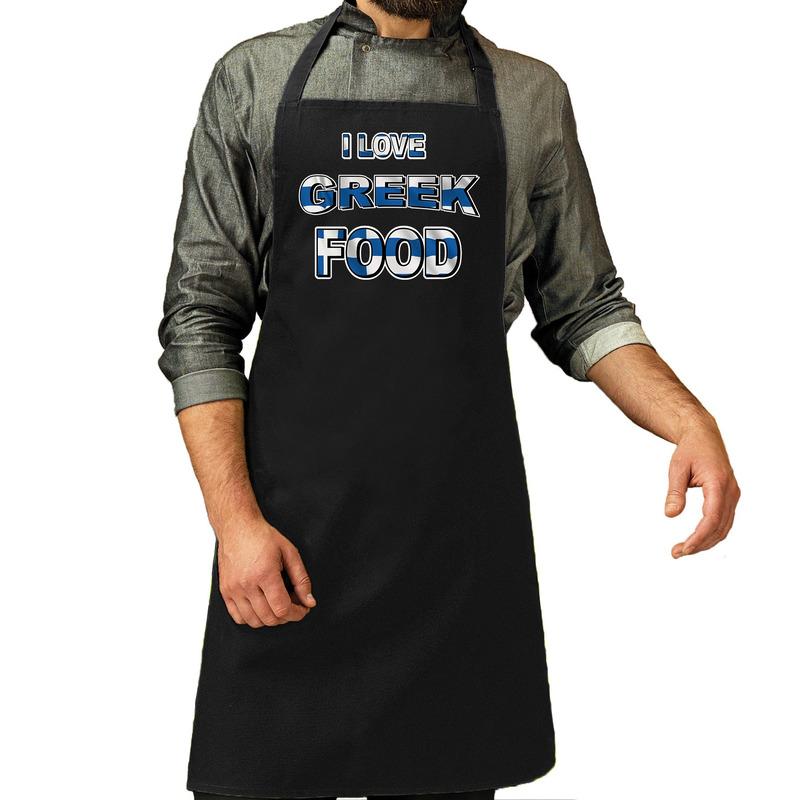 I love Greek food barbecue/keuken schort zwart voor heren