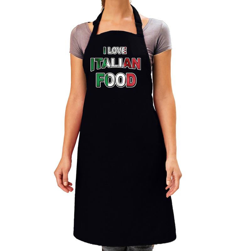 I love Italian food barbecue/keuken schort zwart voor dames