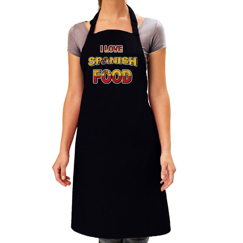 I love Spanish food barbecue/keuken schort zwart voor dames