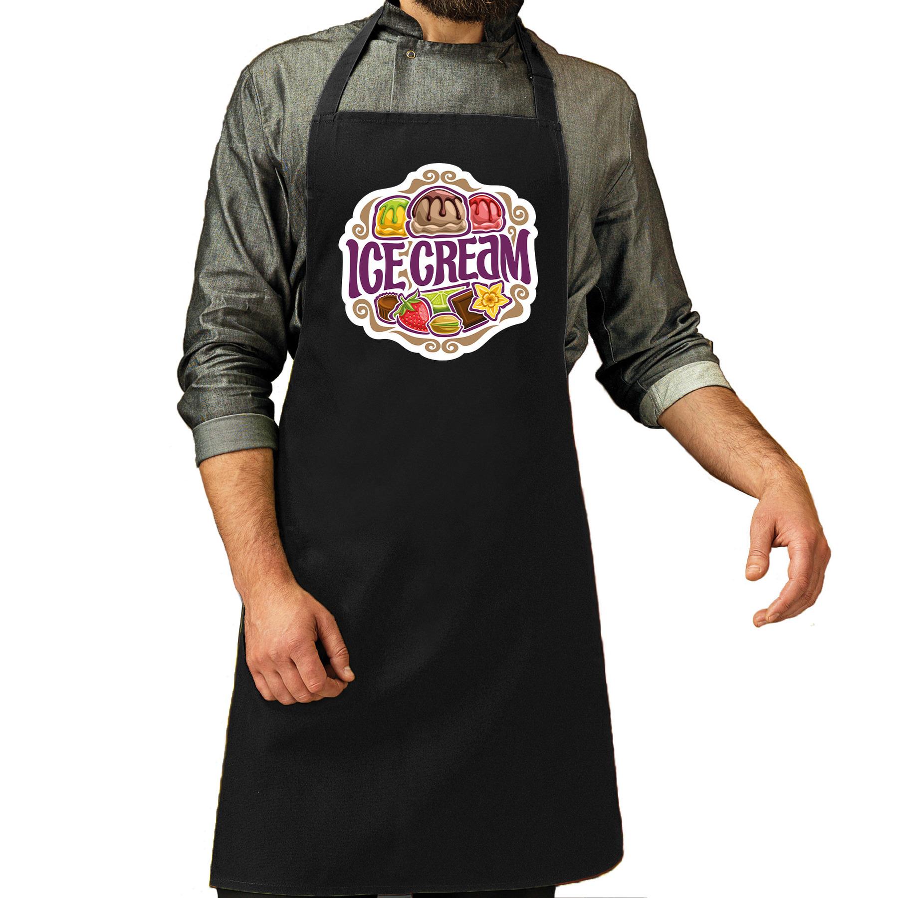 Ice cream schort - keukenschort zwart heren