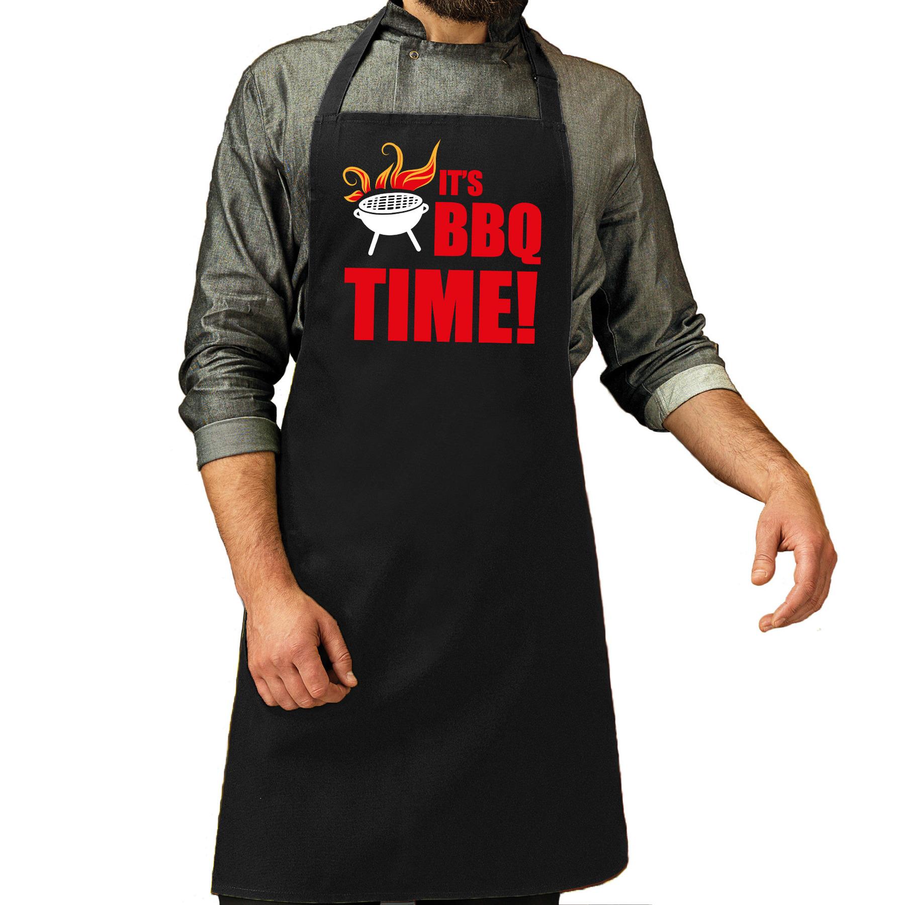 its bbq time bbq schort - keukenschort zwart heren