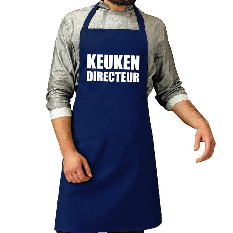 Keuken directeur barbeque schort - keukenschort kobalt blauw her