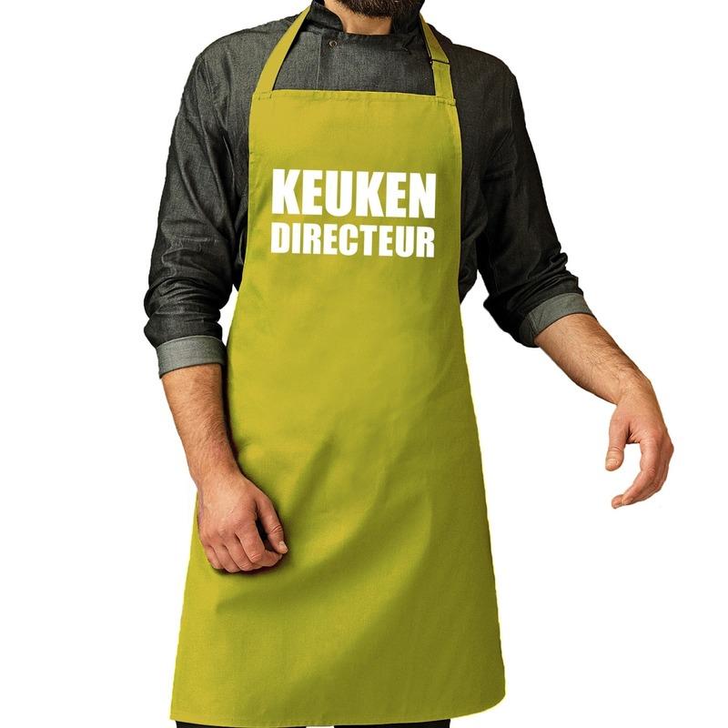Keuken directeur barbeque schort - keukenschort lime groen heren