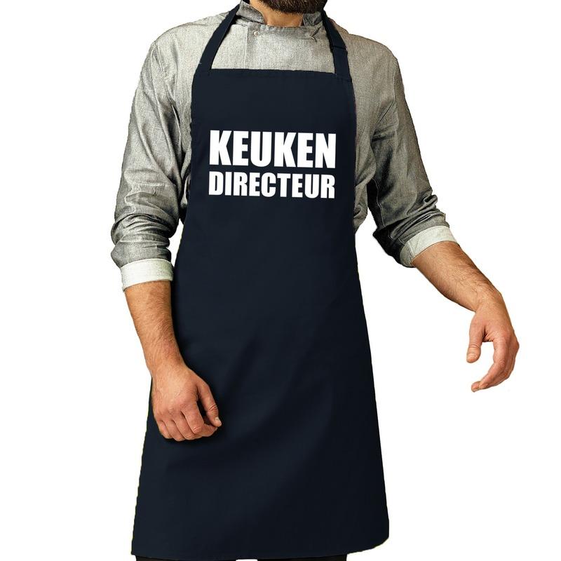 Keuken directeur barbeque schort - keukenschort navy voor heren