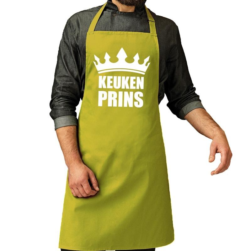 Keuken Prins barbeque schort - keukenschort lime groen heren