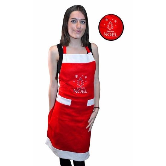 Keuken schort Merry Christmas rood