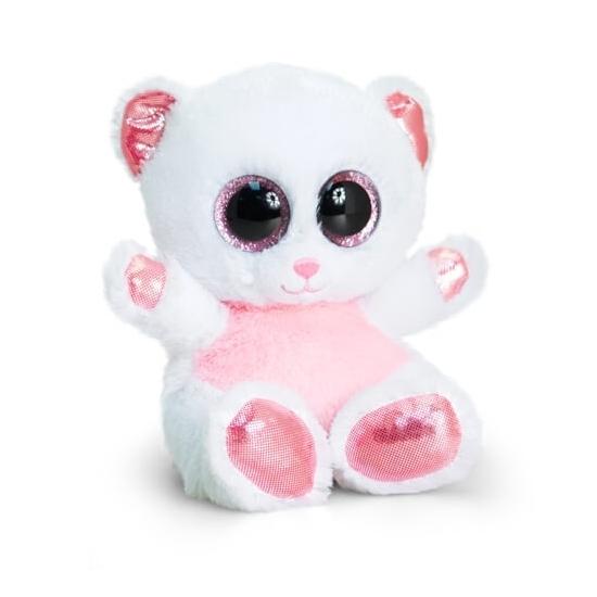 Knuffel ijsbeer met glitter ogen 15 cm