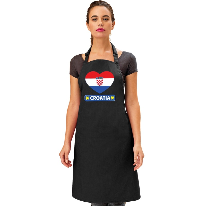 Kroatie hart vlag barbecueschort/ keukenschort zwart