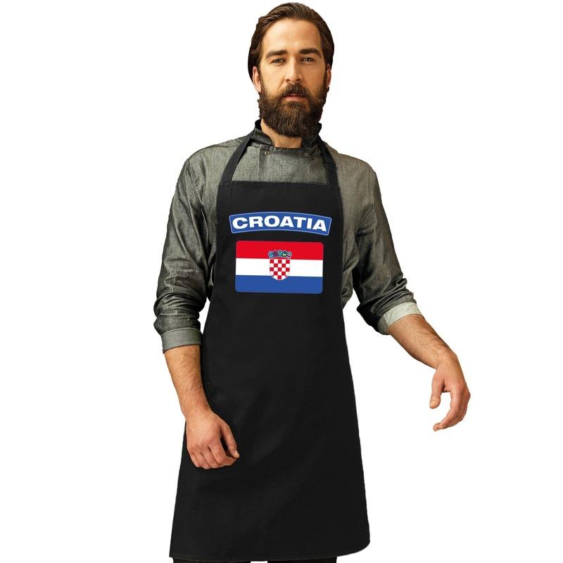 Kroatie vlag barbecueschort/ keukenschort zwart volwassenen