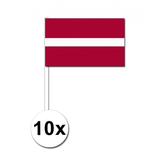 Letland zwaai vlaggetjes 10 stuks