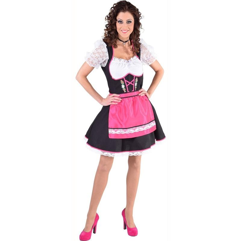 Luxe Tiroler feest jurk met schort roze/zwart
