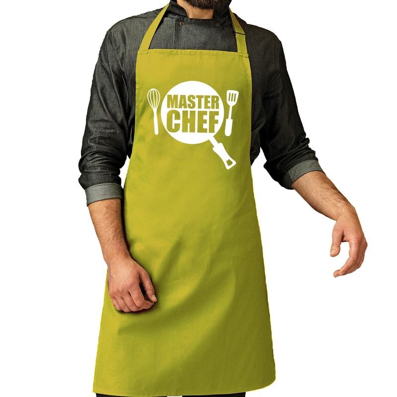 Master chef barbeque schort - keukenschort lime groen voor