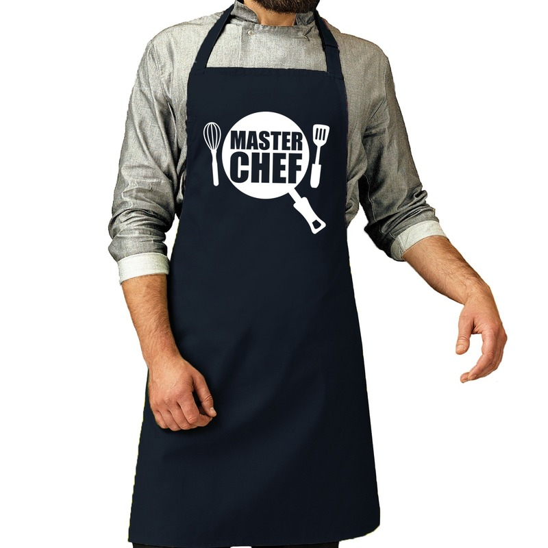 Master chef barbeque schort - keukenschort navy voor heren