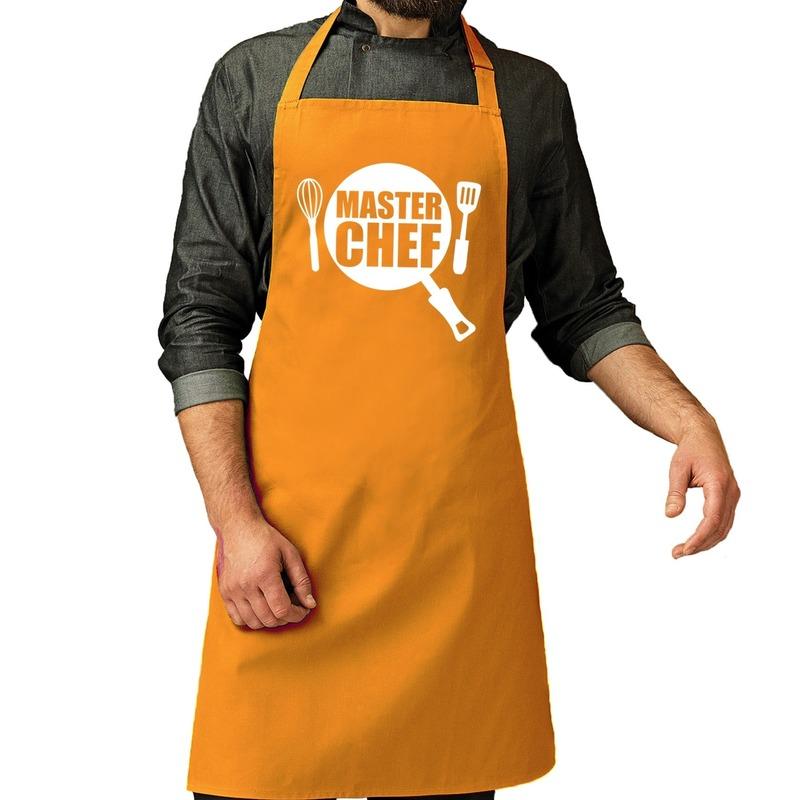 Master chef barbeque schort - keukenschort oker geel heren