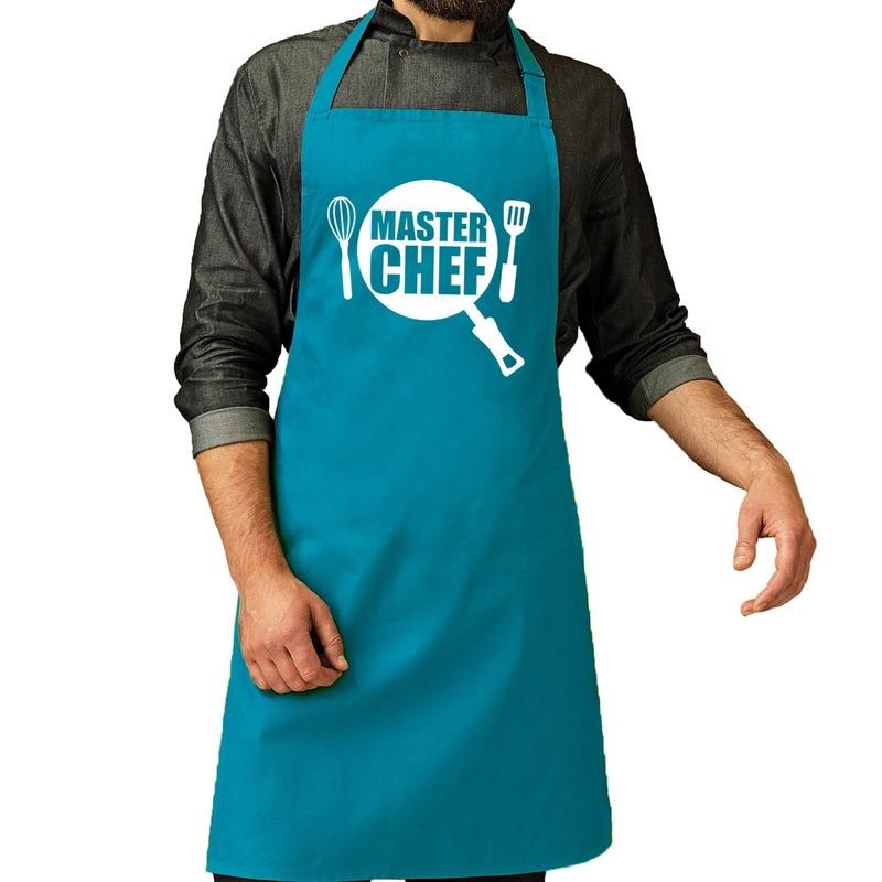 Master chef barbeque schort - keukenschort turquoise blauw voor