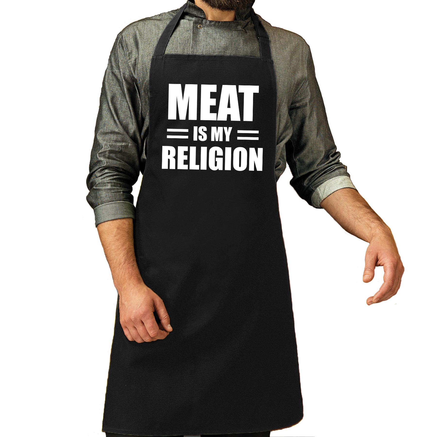 Meat is my religion bbq schort - keukenschort zwart heren