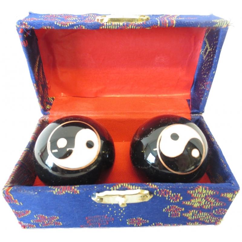 Meridiaanballen Yin Yang 3.5 cm in kistje