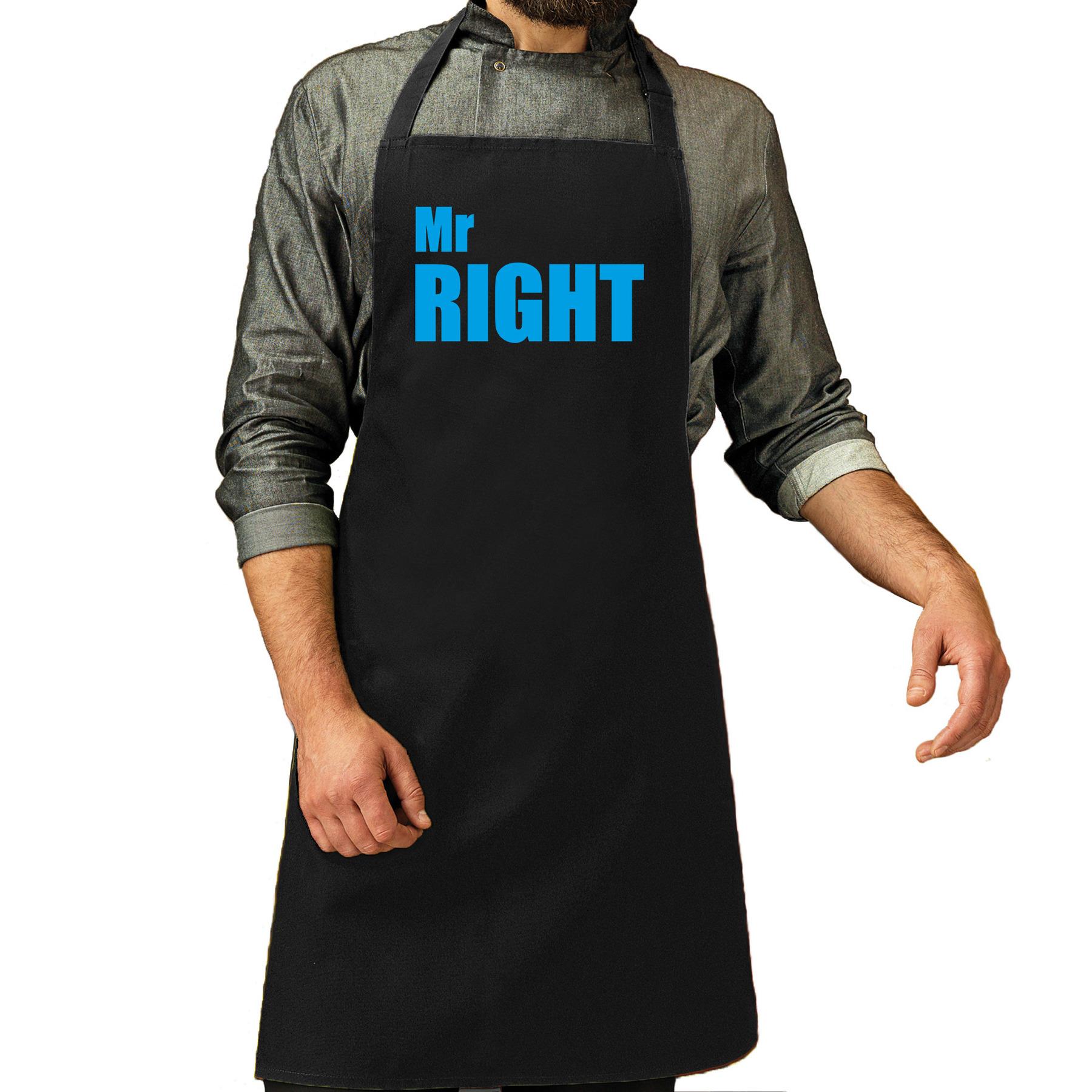Mr Right cadeau schort zwart/blauw heren