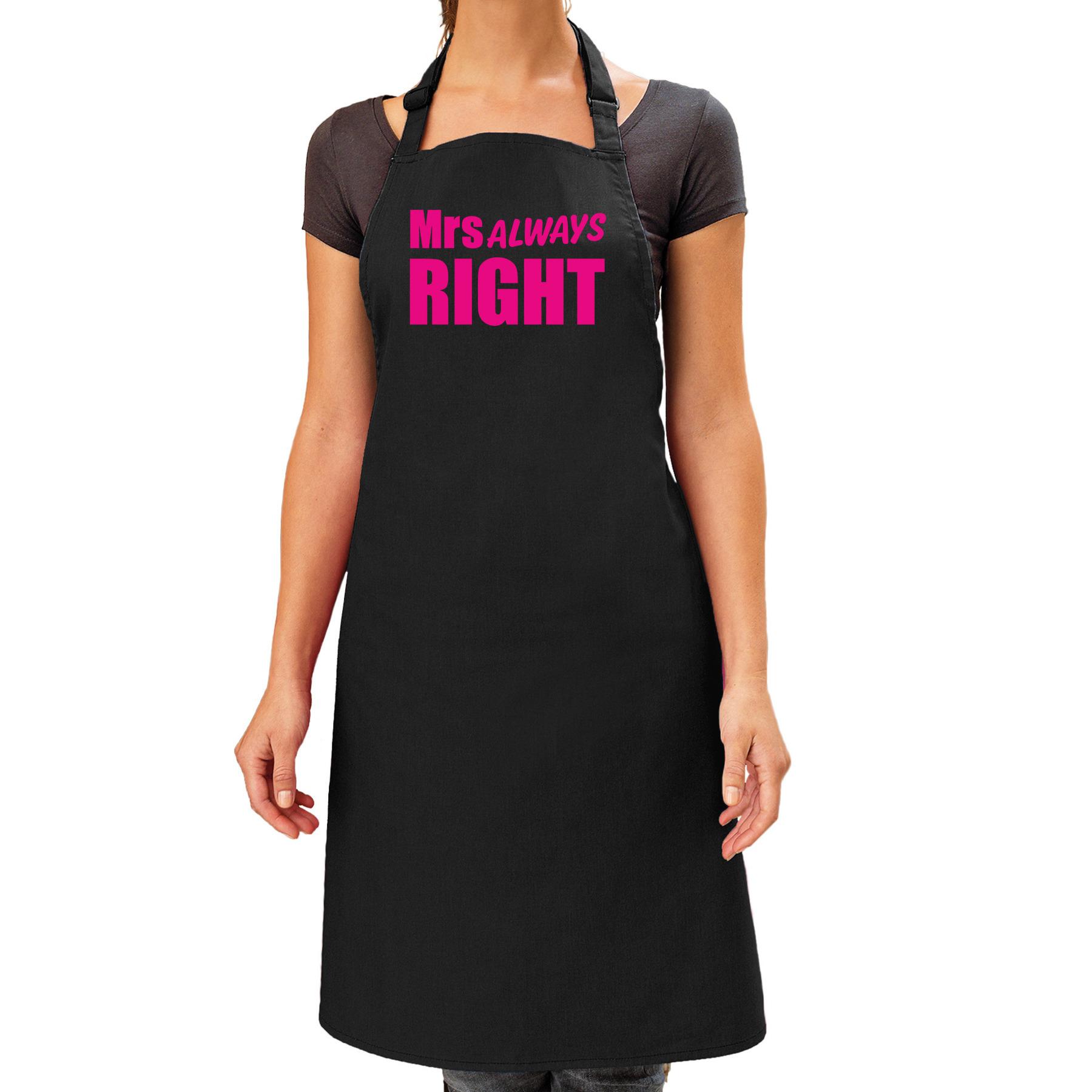Mrs Always Right cadeau schort zwart/roze dames