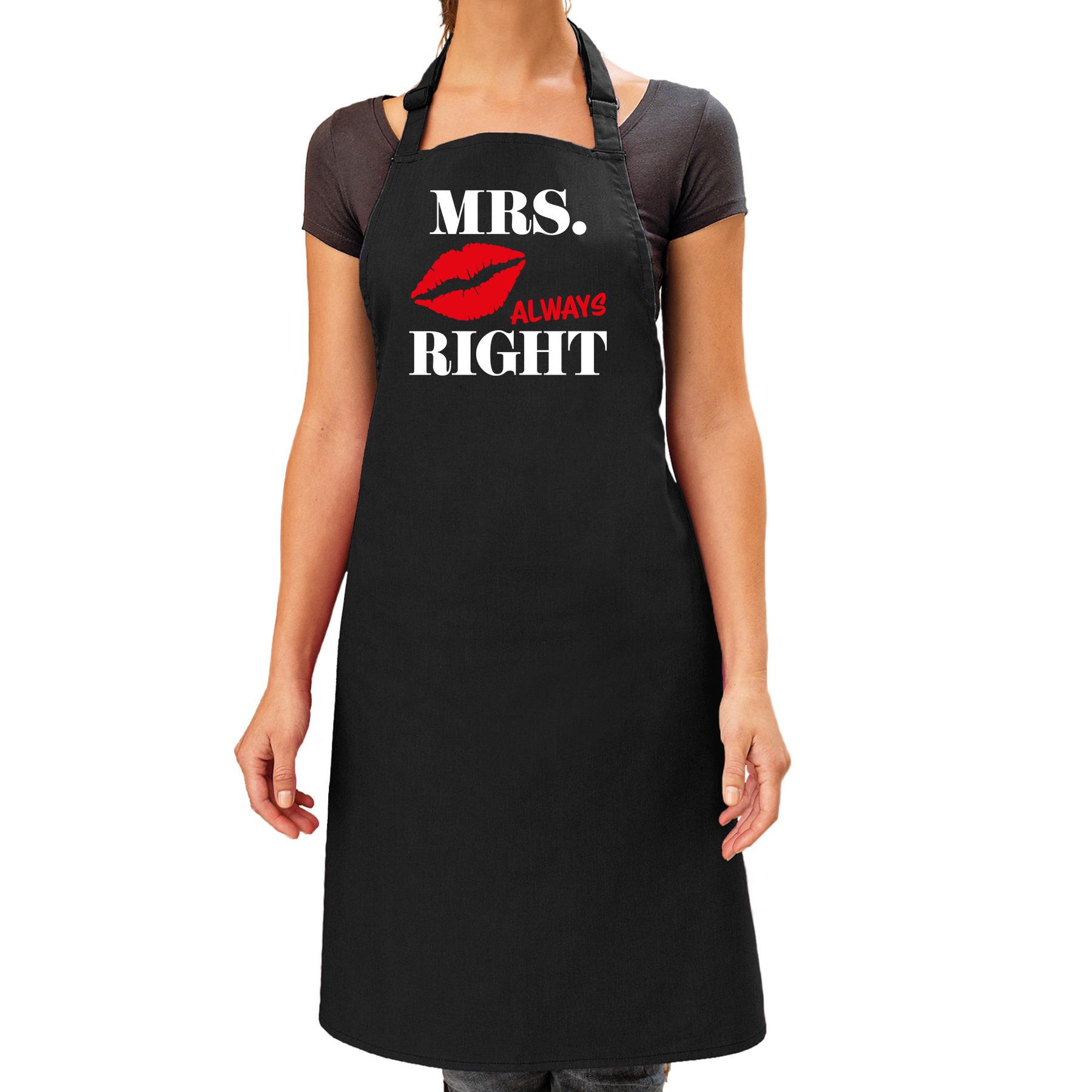 Mrs Always Right kus cadeau schort zwart dames