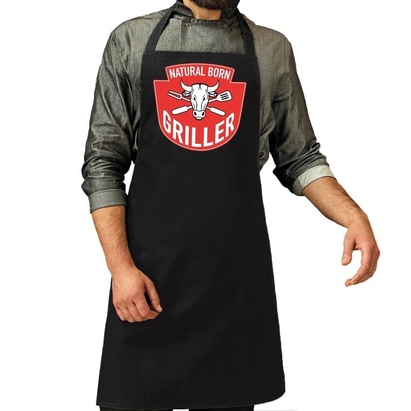Natural born griller barbecue schort - keukenschort zwart voor h