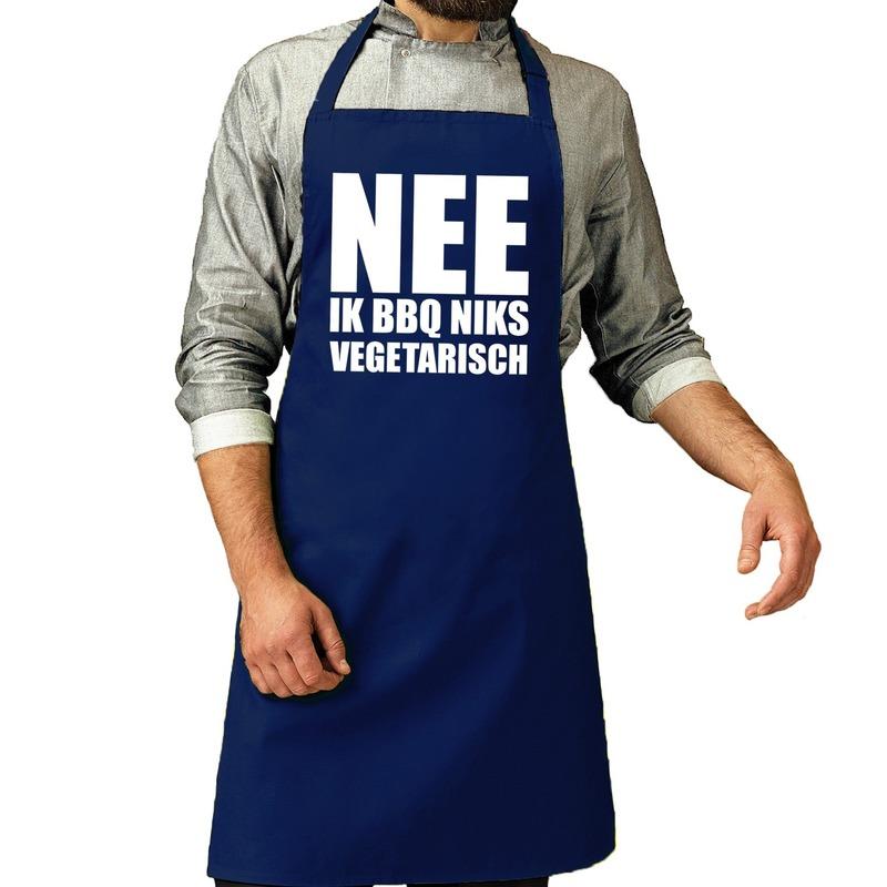 Nee Niks vegetarisch barbecueschort/ keukenschort kobalt heren