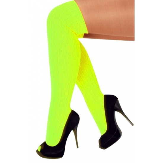Neon gele lange kousen