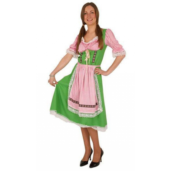 Oktoberfest - Groene/roze Tiroler dirndl verkleed kostuum/midi jurk voor dames