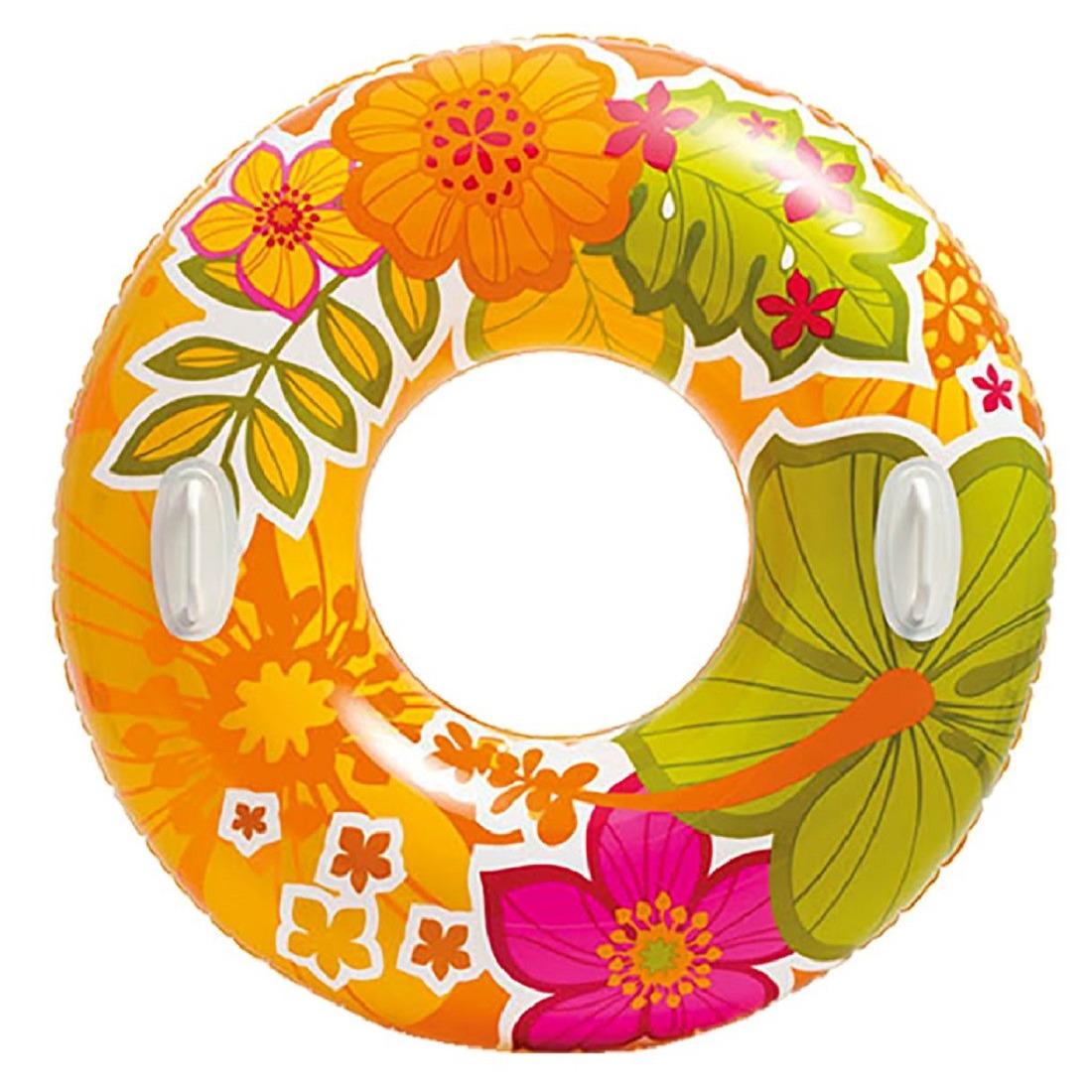 Opblaasbare oranje bloemen zwemband/zwemring 97 cm