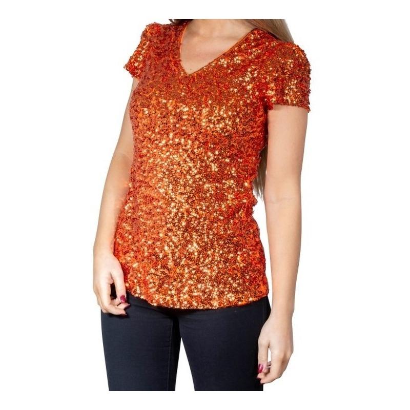 Oranje glitter pailletten disco shirt dames