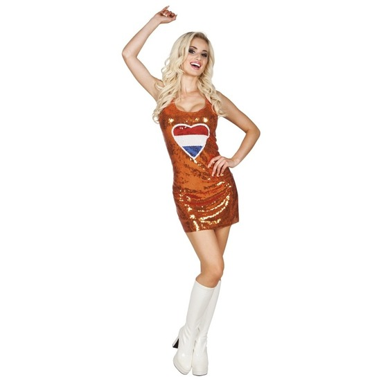Oranje jurkje Holland hart met glitters/pailletten