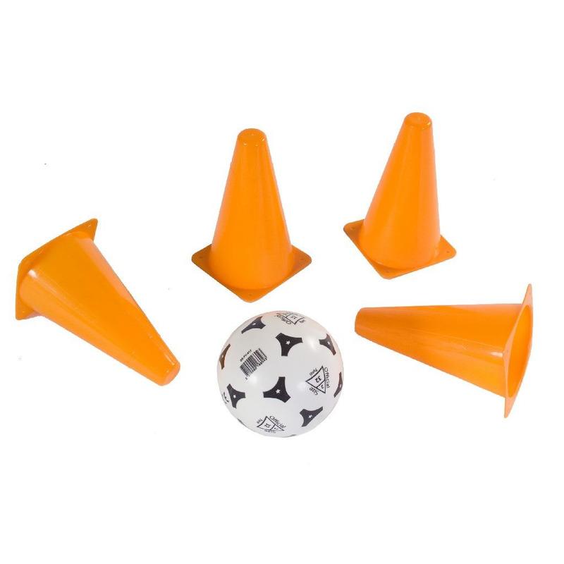 Oranje pionnen 17 cm 4 stuks met voetbal