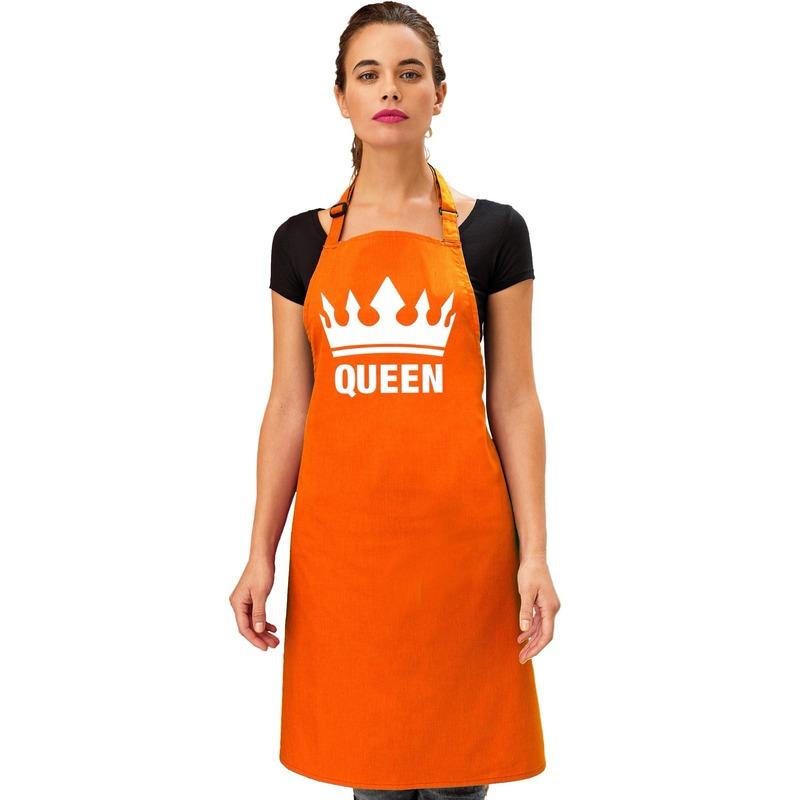 Oranje Queen keukenschort/ bbq schort met kroon dames