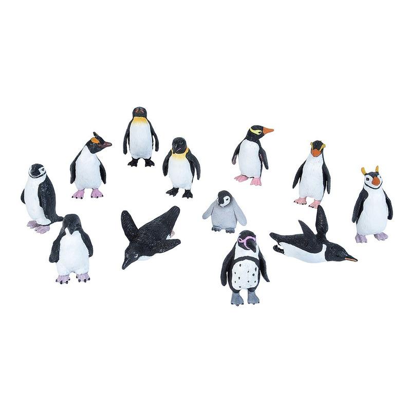 Plastic speelgoed pinguin dieren figuren speelset 12-delig
