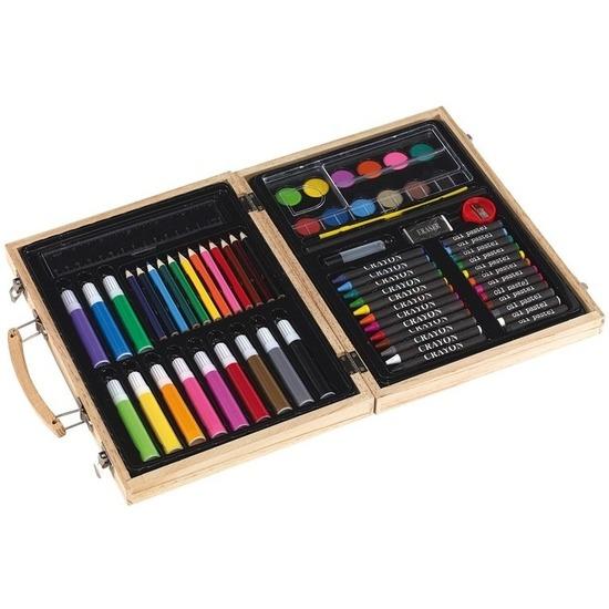 Potloden en verf in een koffer