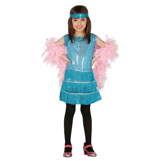 203c01382fec53 Showgirl jurkje blauw voor meisjes. een schattig blauwkleurig showgirl  jurkje met blauwe pailletten. het