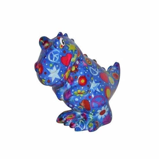 Spaarpot dinosaurus 17 cm blauw