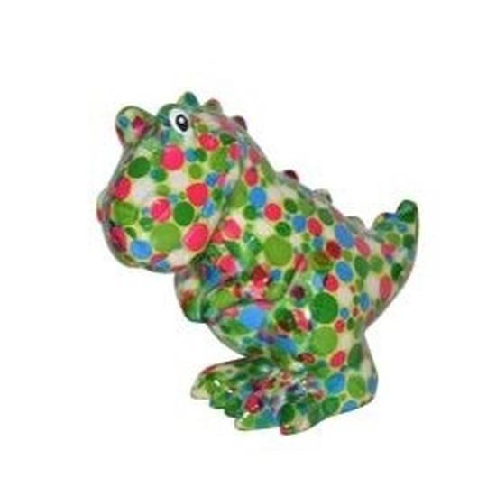 Spaarpot dinosaurus 17 cm gekleurde stippen