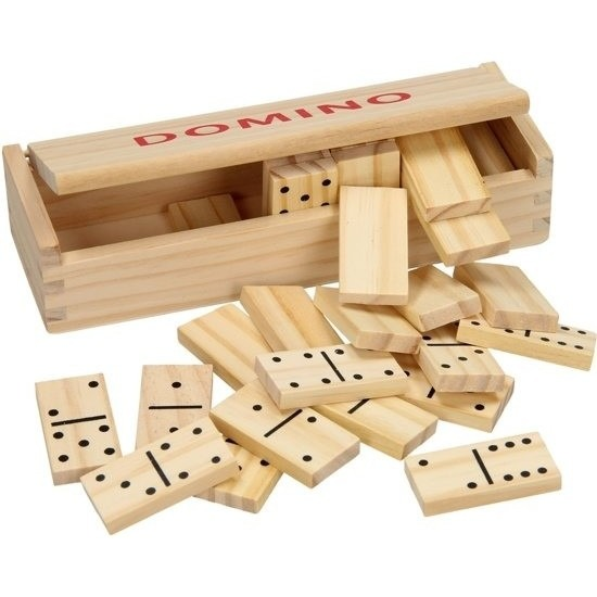 Speelgoed houten domino spel in kistje