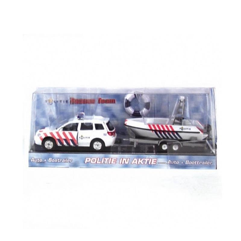 speelgoed politie auto met boot