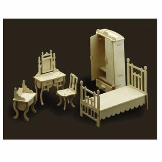 Speelgoed poppenhuis slaapkamer meubels bouwpakket