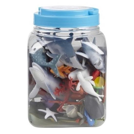 Speelset zeedieren kunststof in emmer 40 stuks