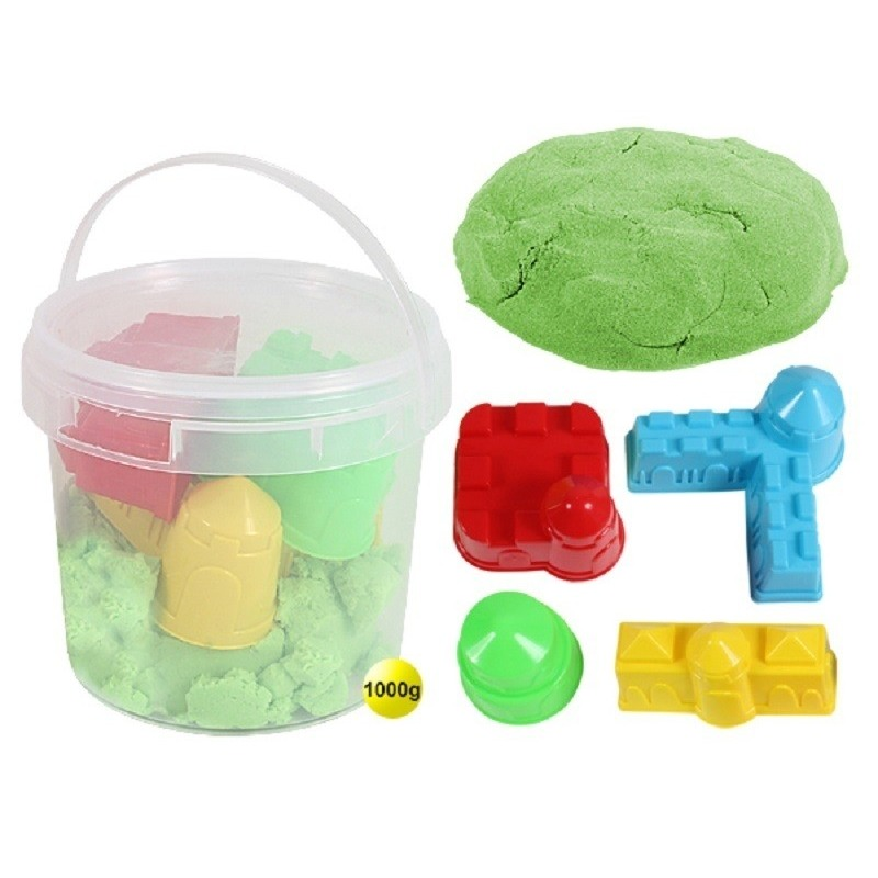 Speelzand/magisch zand groen 1 kg met 4 zandvormpjes