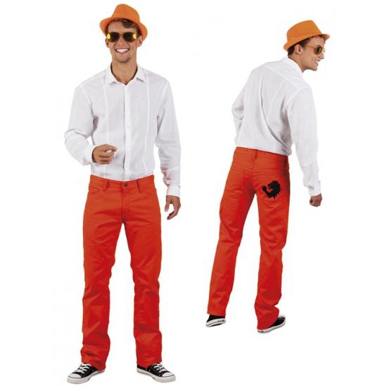 Spijkerbroek oranje voor heren met zwarte KNVB leeuw