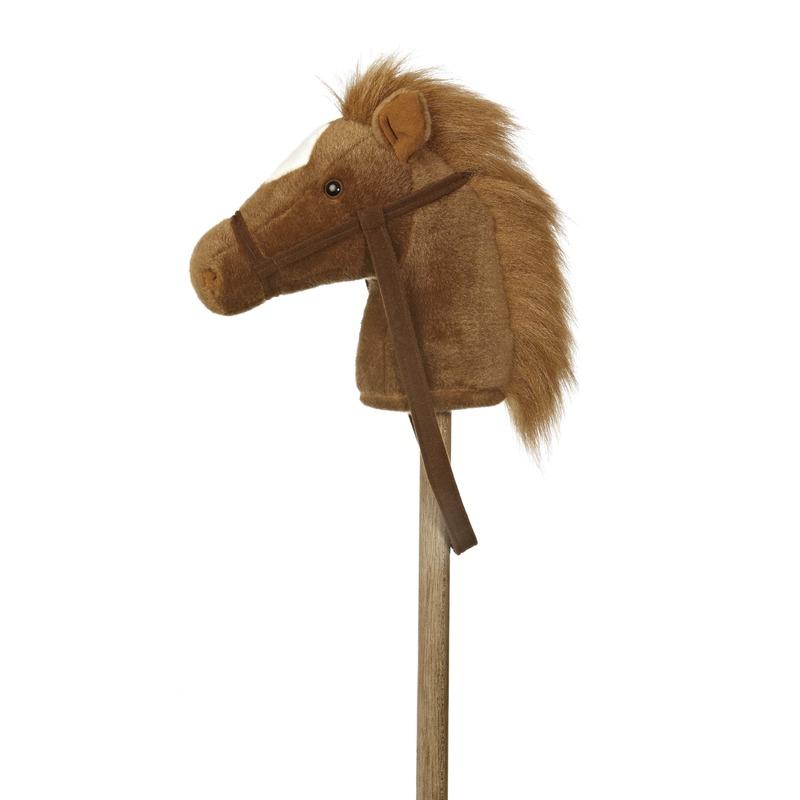 Stokpaard bruine pony pluche 94 cm