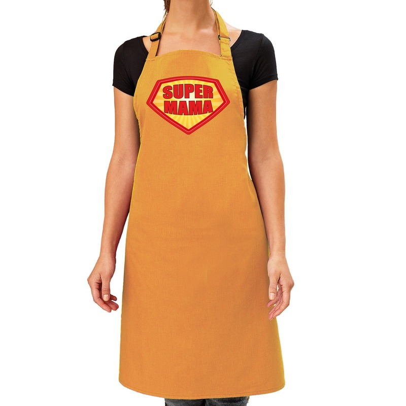 Super mama barbeque schort - keukenschort oker geel dames
