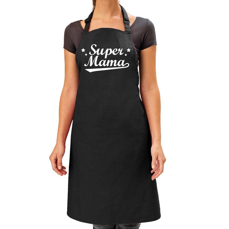 Super mama cadeau bbq/keuken schort zwart dames